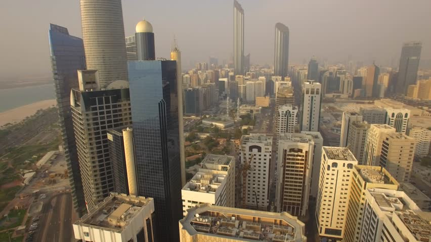 Aerial view. Abu Dhabi cityscape from Corniche Beach. 4K