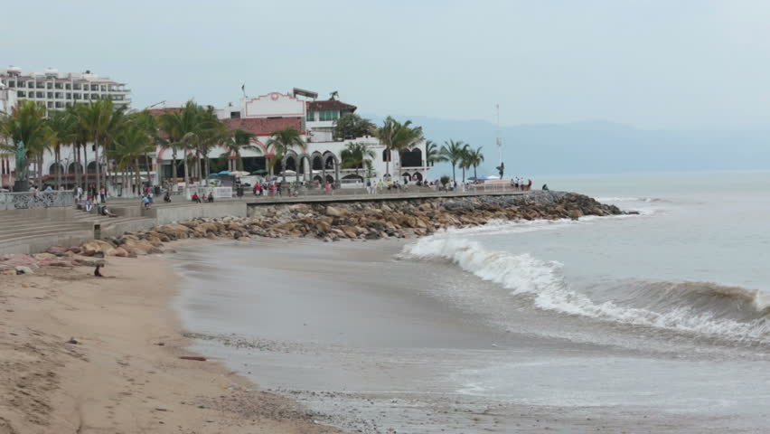 Puerto Vallarta Boardwalk Malecon beach. Puerto Vallarta Boardwalk and Malecon beach and tourist area on shore of Banderas Bay on edge of Pacific Ocean. Cultural and artistic center of the city.