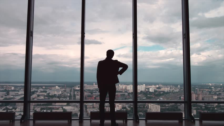 Rear view of businessman in an office with panoramic city view. Businessman admires the city from the panoramic Windows in the city centre | Shutterstock HD Video #31276603