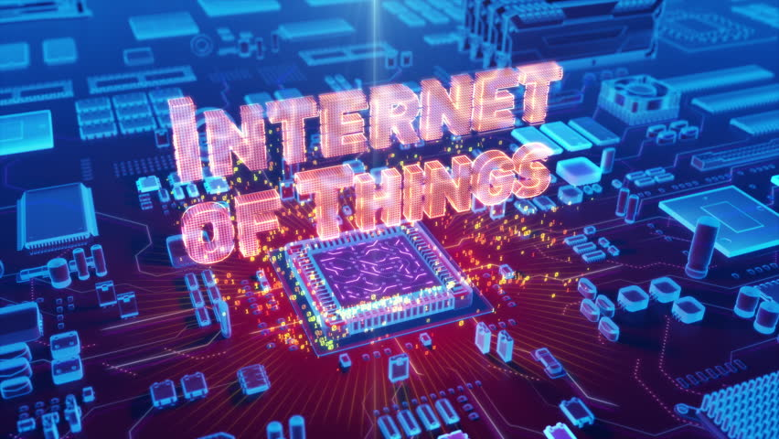 """Futuristic animation of holographic """"INTERNET of THINGS"""" text emerging from microprocessor on electronic circuit board Royalty-Free Stock Footage #31283221"""