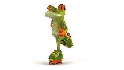 Green frog skating