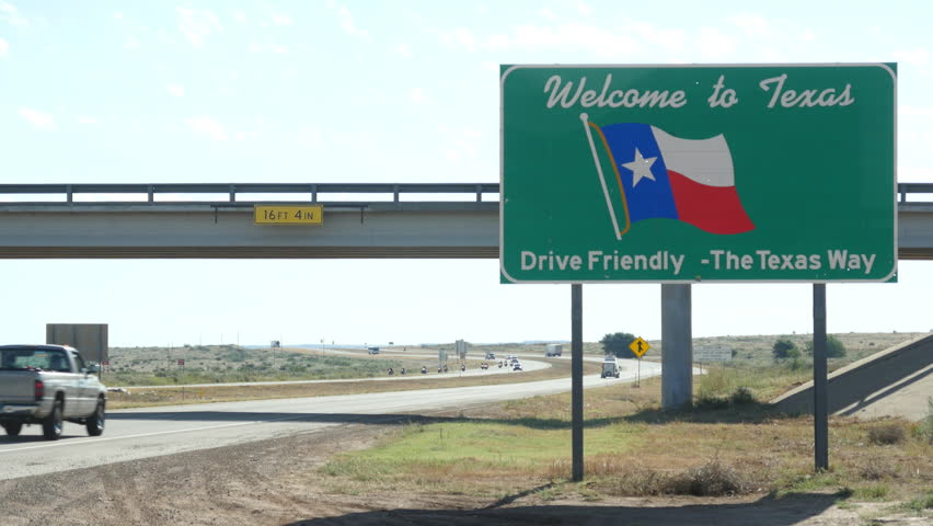 Welcome to Texas Sign on Interstate 40 at Texas State-line on New Mexico Texas Border