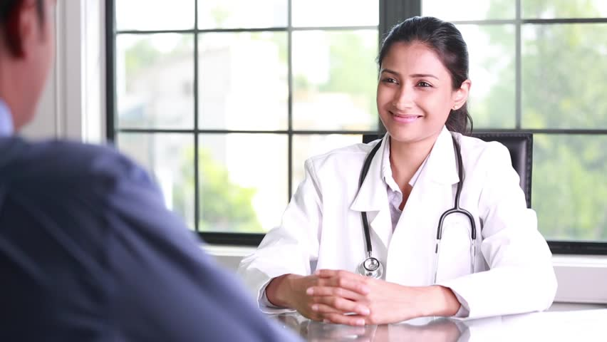 Closeup portrait, patient talking good news conversation about improved health to healthcare professional, isolated indoors office window background Royalty-Free Stock Footage #31302529