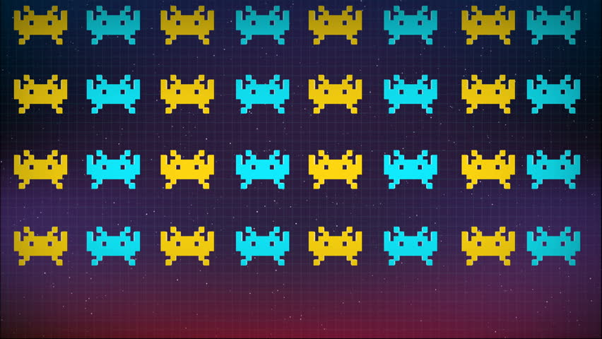 Seamless animation of cute 8 bit pixel space game or computer virus attacking your computer. Pixel virus or spyware background in internet security concept 4k
