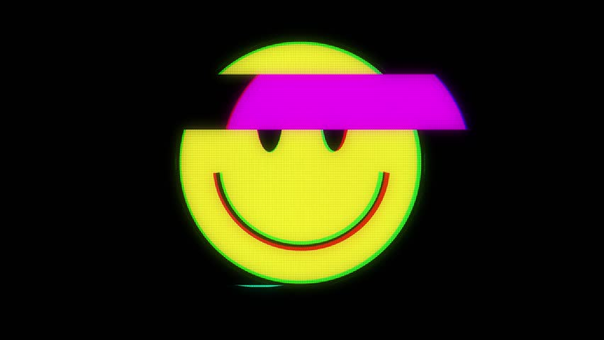 Smile hud holographic symbol on digital old tv screen seamless loop glitch interference animation new dynamic retro joyful colorful retro vintage video footage #31311238