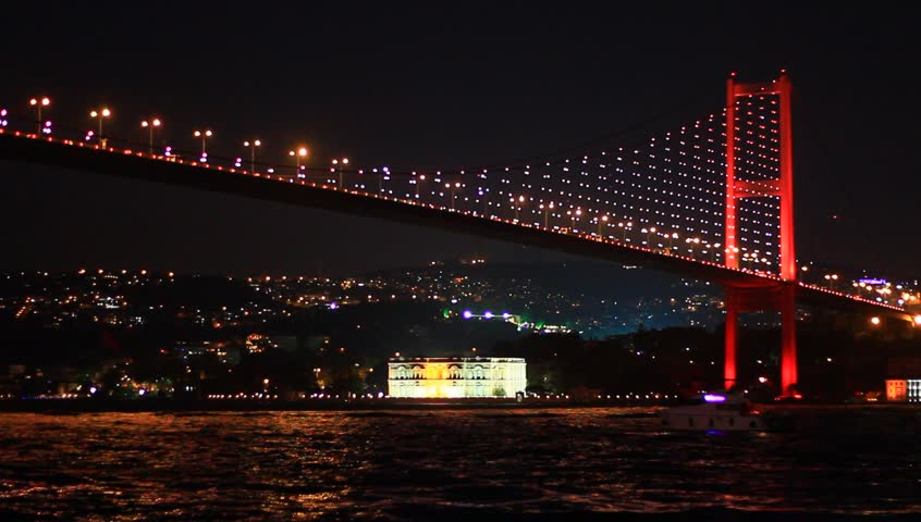 Bosphorus Bridge nightly light show in Istanbul, Turkey.