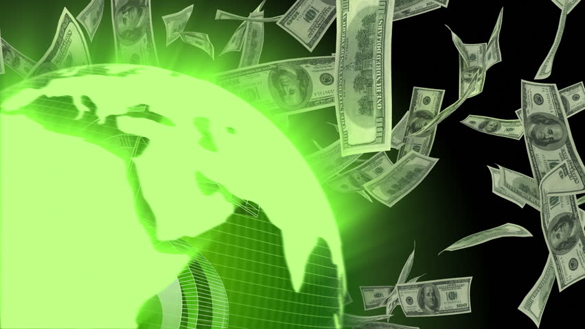 World globe spinning with dollar symbol and dollar bills flying around conceptual computer generated seamlessly looping video animation. | Shutterstock HD Video #3133063