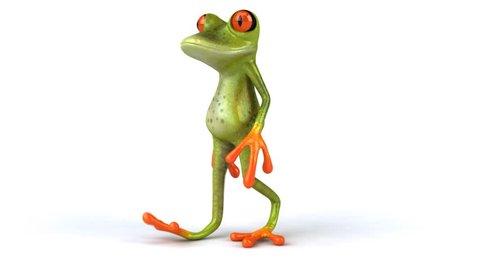 Green frog walk