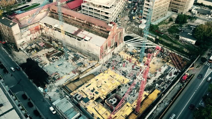 Aerial down view shot of a city construction site #31355890
