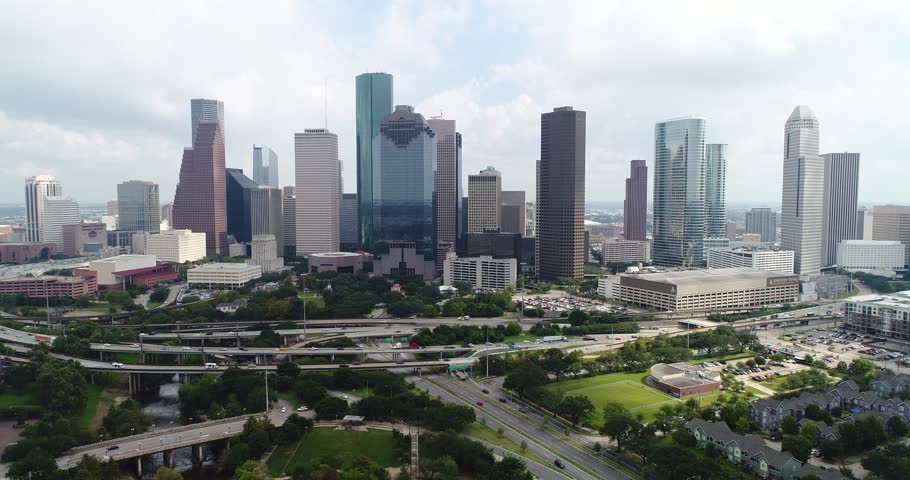 Free high quality 4k clip of Aerial view of skyline downtown Houston building city, at buffalo bayou park, Houston, Texas, USA