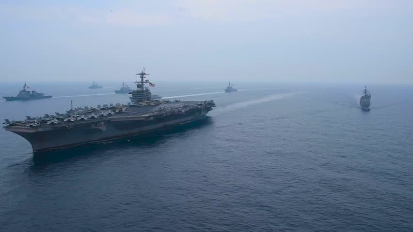 CIRCA 2010s - An aerial over the U.S. Carl Vinson strike group moving across the Sea of Japan.
