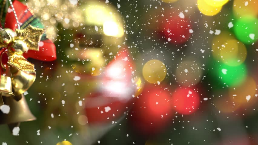 Greeting Season concept.Macro with Dolly of ornaments on a Christmas tree with decorative light and falling snow in 4k (UHD) | Shutterstock HD Video #31388026