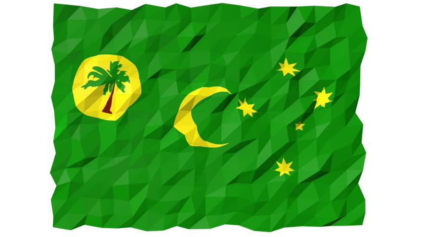 Flag of Cocos Islands 3D Wallpaper Animation, National Symbol, Seamless Looping Footage
