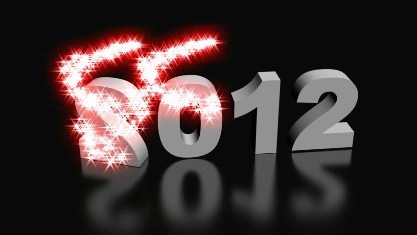 Happy New Year 2013. Year 2012 text spinning and converting in 2013 with spiral glittering particle effects.