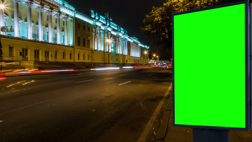 Billboard green screen on the street . time laps | Shutterstock HD Video #31421878
