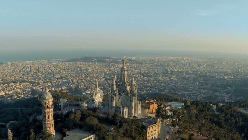 Aerial skyline of Barcelona from Tibidabo mountain