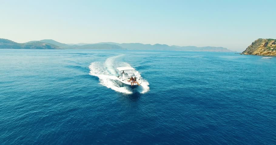 Aerial view of amazing island beach of couple on yacht #31432645