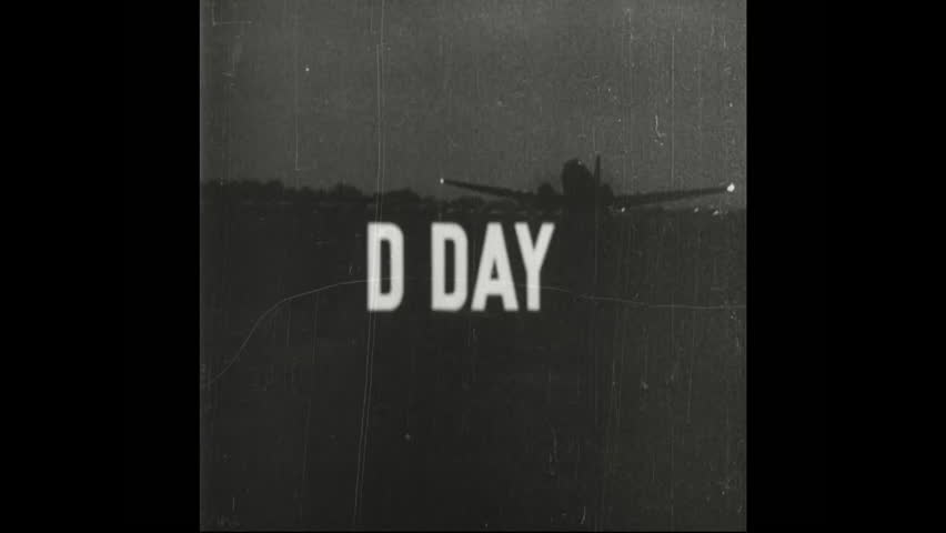 CIRCA 1940s - Air raids intensify on the morning of D-day, and paratroopers descend on Normandy, France during the early hours of the invasion in the 1940s.