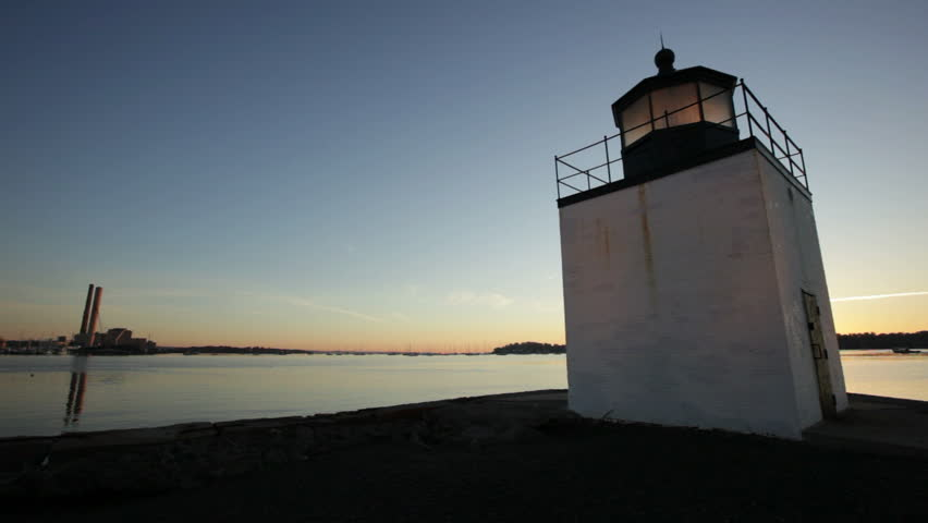 Salem Derby lighthouse right at sunrise right