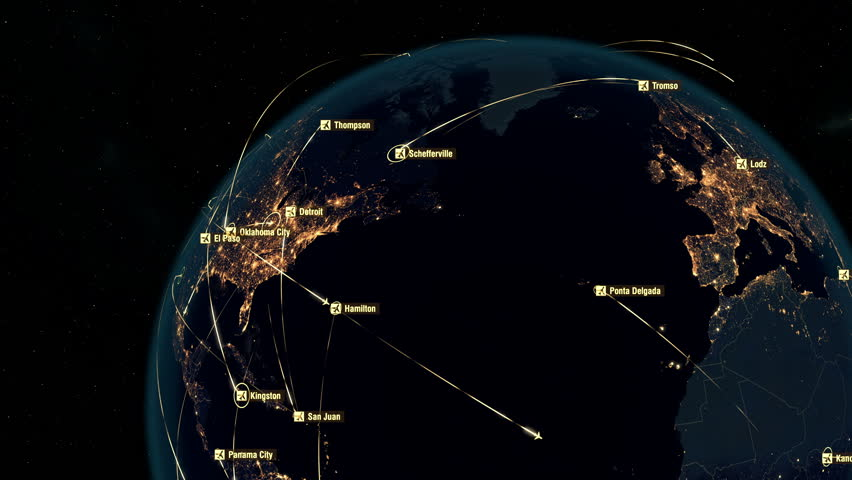 European and North American Flight Connections. Global Communications through the Network of Connections all over the World. World Airplane Flight Travel Plans. Airports Departures and Arrivals.