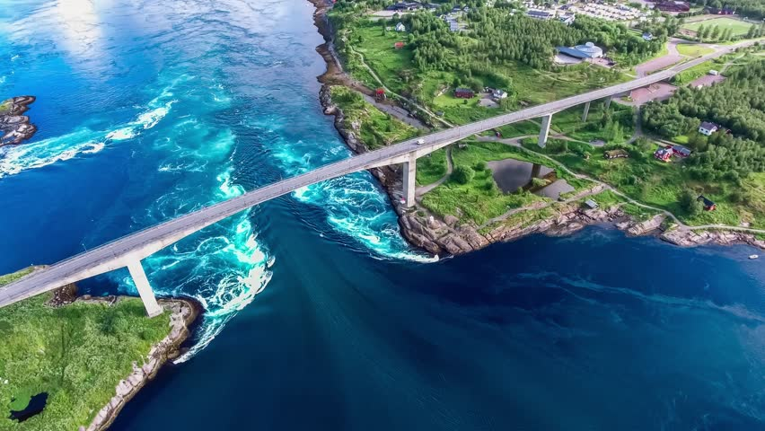 Whirlpools of the maelstrom of Saltstraumen, Nordland, Norway aerial view Beautiful Nature. Saltstraumen is a small strait with one of the strongest tidal currents in the world. Royalty-Free Stock Footage #31473451