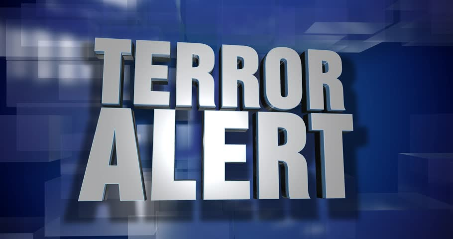 A blue dynamic 3D Terror Alert transition and title page animation. 5 and 2 second options included with optional luma matte for both.  | Shutterstock HD Video #31478011
