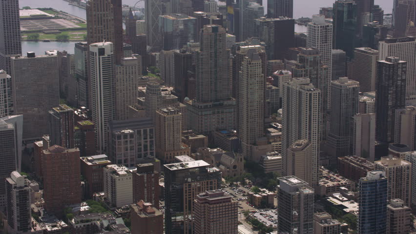 Chicago, Illinois circa-2017, Aerial shot of and downtown Chicago. Shot with Cineflex and RED Epic-W Helium. | Shutterstock HD Video #31491328