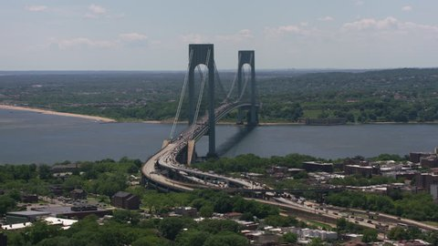 New York City, New York circa-2017, Aerial shot of Verrazano-Narrows Bridge. Shot with Cineflex and RED Epic-W Helium.