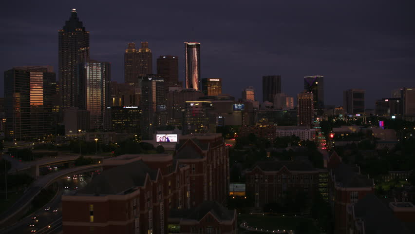 Atlanta, Georgia circa-2017, Aerial view of downtown Atlanta at dusk. Shot with Cineflex and RED Epic-W Helium.