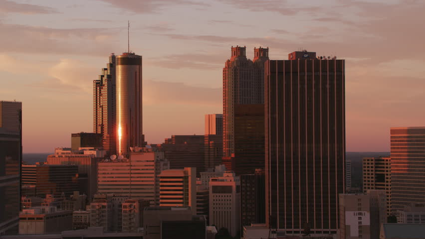 Atlanta, Georgia circa-2017, Aerial view of downtown Atlanta buildings at sunset. Shot with Cineflex and RED Epic-W Helium.