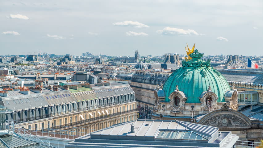 Top view of Palais or Opera Garnier The National Academy of Music timelapse in Paris, France. Aerial view from rooftop at sunny summer day. It is a 1979-seat opera house, which was built from 1861 to | Shutterstock HD Video #31493737
