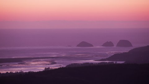 Oregon Coast circa-2017, Aerial Sandlake and Pacific Ocean at sunset. Shot with Cineflex and RED Epic-W Helium.