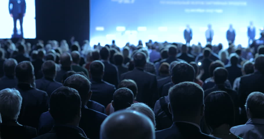 people at a conference or presentation, workshop, master class photograph. Back view #31496914