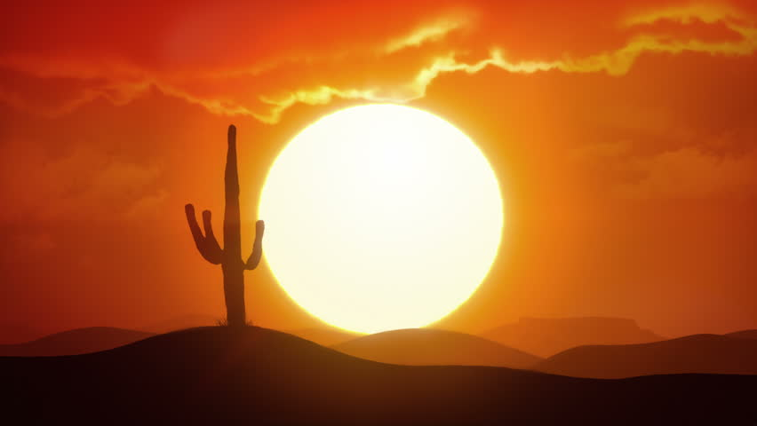 Time lapse of big sunrise over desert with silhouette of lone cactus in foreground