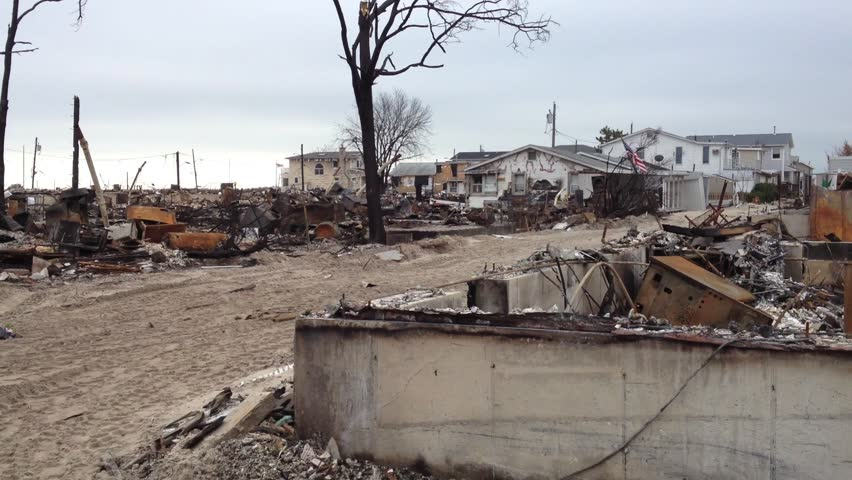 BREEZY POINT, QUEENS, NY-December 2, 2012: Video clip of wreckage and debris from homes destroyed by devastating fire during Hurricane Sandy.  111 homes were destroyed in the out-of-control blaze.