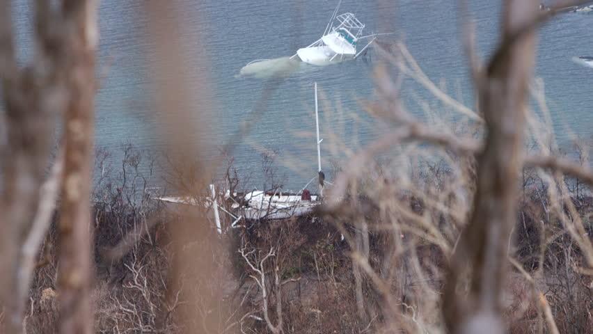 Sunken destroyed boats post hurricane irma 2017, st john, united states virgin islands