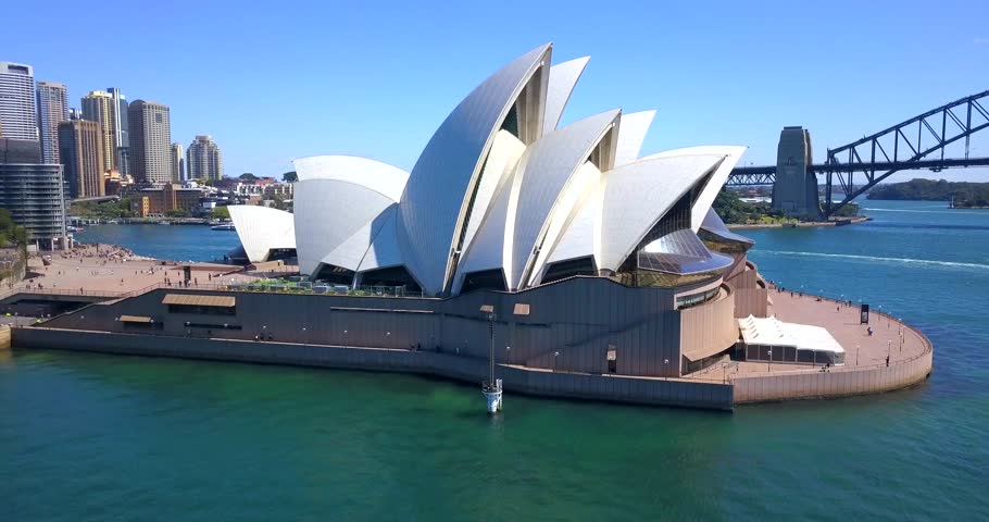 Aerial panoramic view of the Sydney opera house by the Harbour bridge. April 10, 2017. Sydney, Australia.