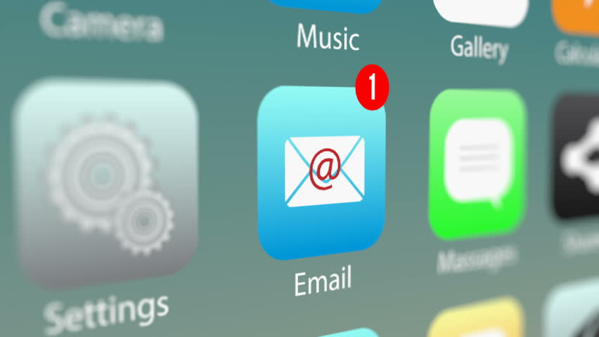 Close Up Shot of E-mail App Icon with Notifications and Incoming E-mail Counter on Smart Phone Screen. New E-Mail Message Notification on Smart Phone Device.  | Shutterstock HD Video #31520734