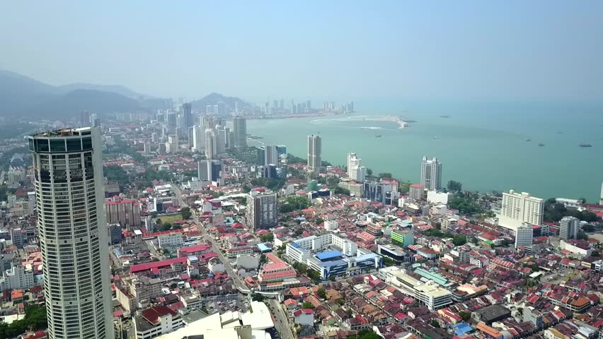Aerial view of Penang City from Georgetown towards Gurney drive during the afternoon sky