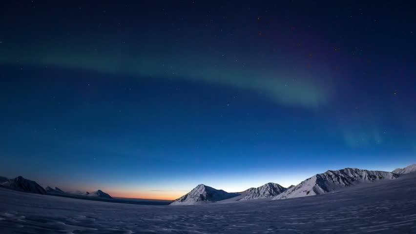 Aurora Borealis in south Spitsbergen. Around the fjord Hornsund.. | Shutterstock HD Video #31546303
