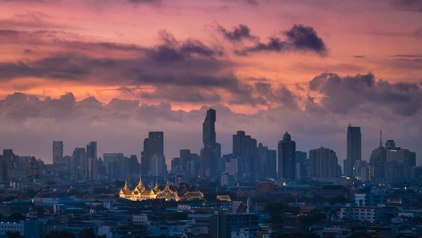4k time lapse sunrise in City scene with Grand palace, Bangkok, Thailand