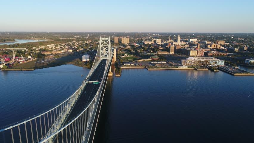 Aerial View of Ben Franklin Bridge Philadelphia  | Shutterstock HD Video #31557427