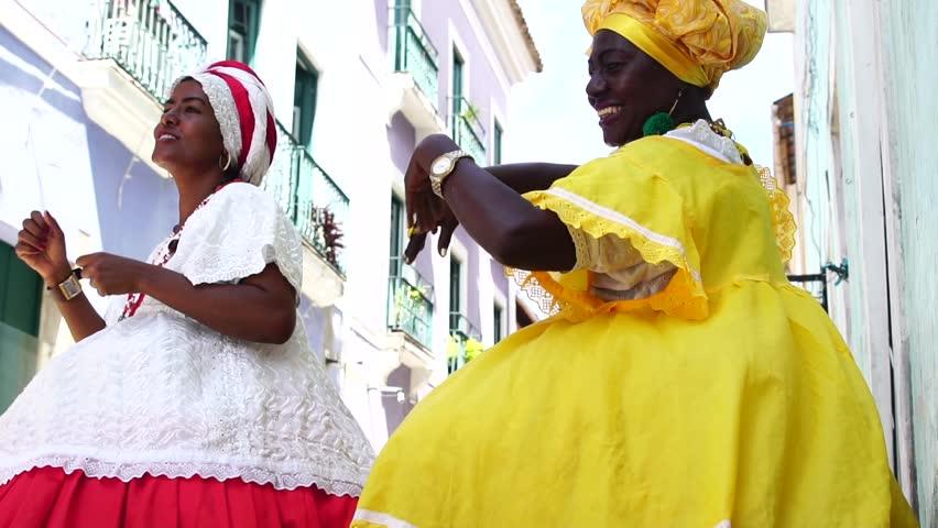 Brazilian Women (Baianas) dancing in Salvador, Bahia, Brazil