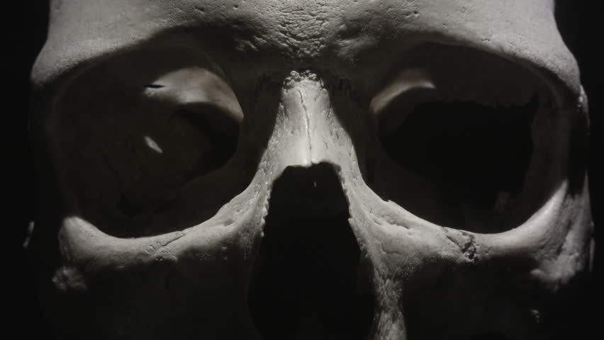 Human skull: Light sweeps past eye sockets in close up. Spooky and sinister. Royalty-Free Stock Footage #31573354