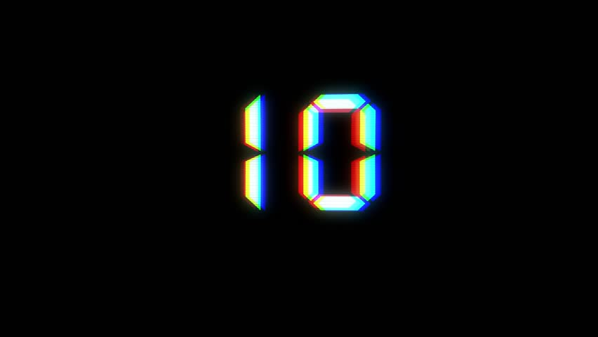 Glitch interference countdown numbers from 10 to 1 new dynamic holiday retro joyful colorful vintage video footage