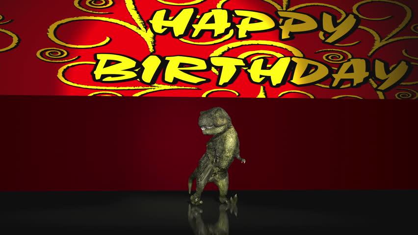 T-REX Happy Birthday! Red background Version