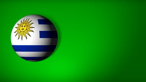 roll the ball with the flag of Uruguay