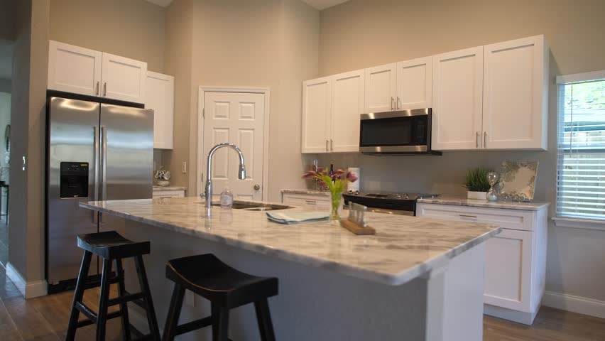 House Interior of rooms in a luxury home. Features a kitchen salon, living room for real estate