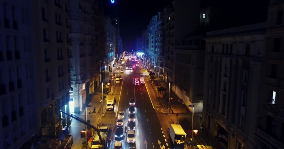 Night Grand Via in Madrid, drone