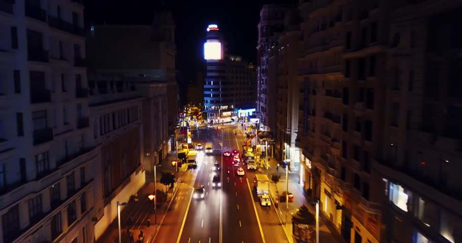 Night Grand Via Street in Madrid, Spain, by drone Royalty-Free Stock Footage #31618537